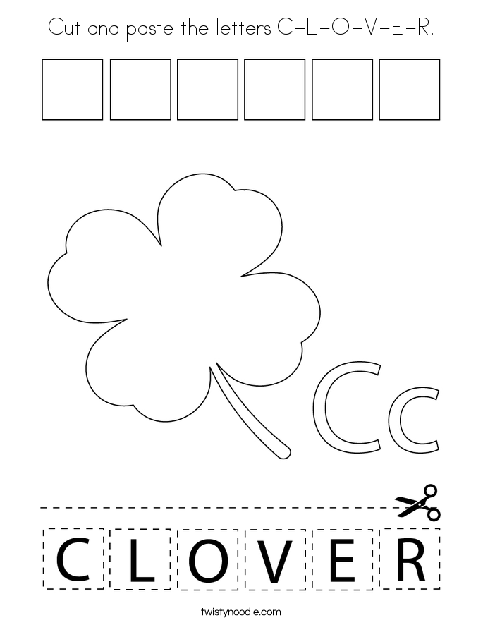 Cut and paste the letters C-L-O-V-E-R. Coloring Page