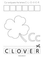 Cut and paste the letters C-L-O-V-E-R Coloring Page