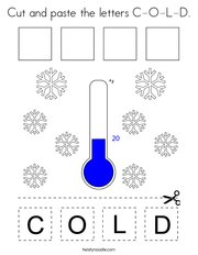 Cut and paste the letters C-O-L-D Coloring Page