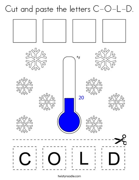 Cut and paste the letters C-O-L-D. Coloring Page