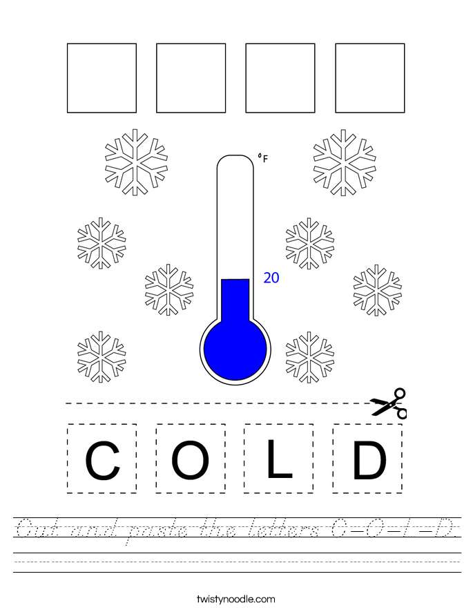 Cut and paste the letters C-O-L-D. Worksheet
