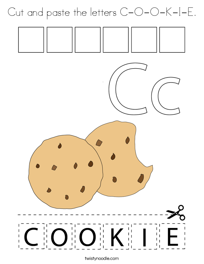 Cut and paste the letters C-O-O-K-I-E. Coloring Page