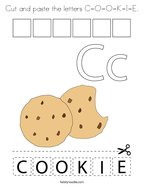 Cut and paste the letters C-O-O-K-I-E Coloring Page