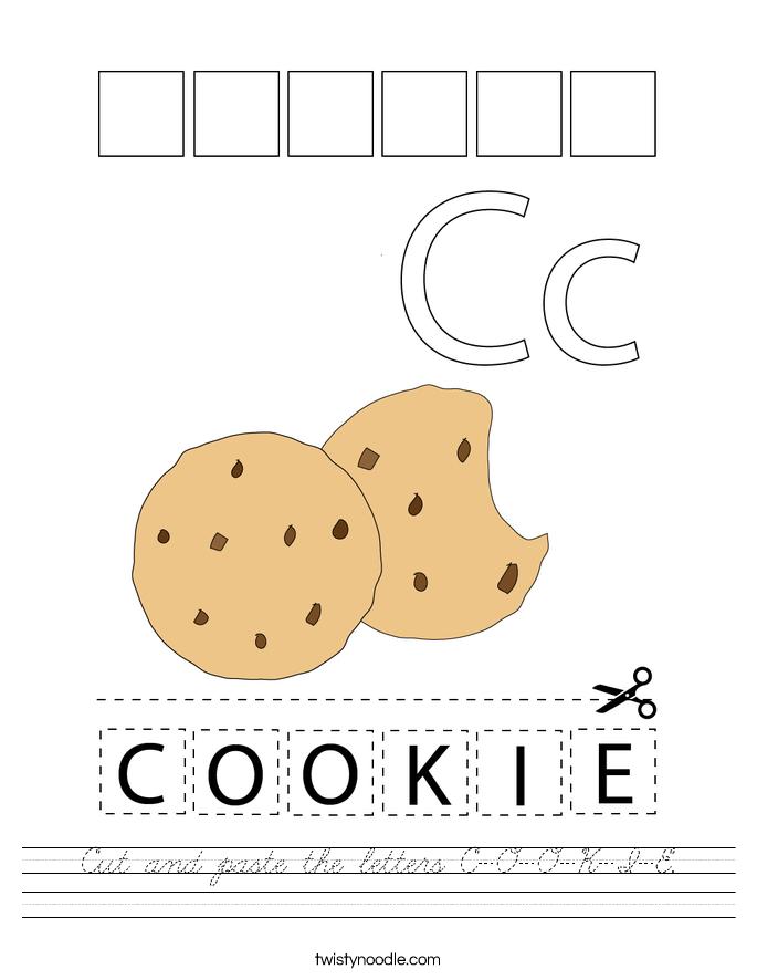 Cut and paste the letters C-O-O-K-I-E. Worksheet