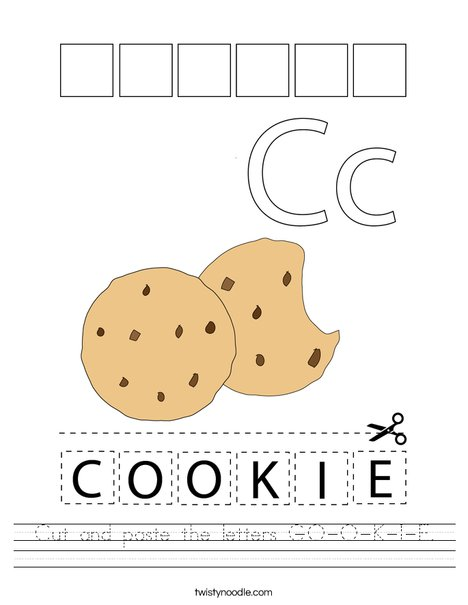 Cut and paste the letters C-O-O-K-I-E. Worksheet