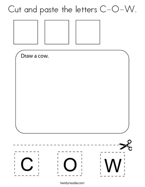 Cut and paste the letters C-O-W. Coloring Page