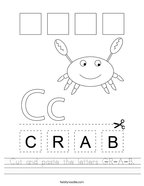 Cut and paste the letters C-R-A-B Handwriting Sheet