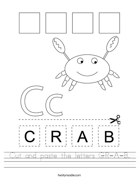 Cut and paste the letters C-R-A-B. Worksheet