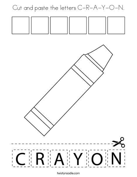 Cut and paste the letters C-R-A-Y-O-N. Coloring Page