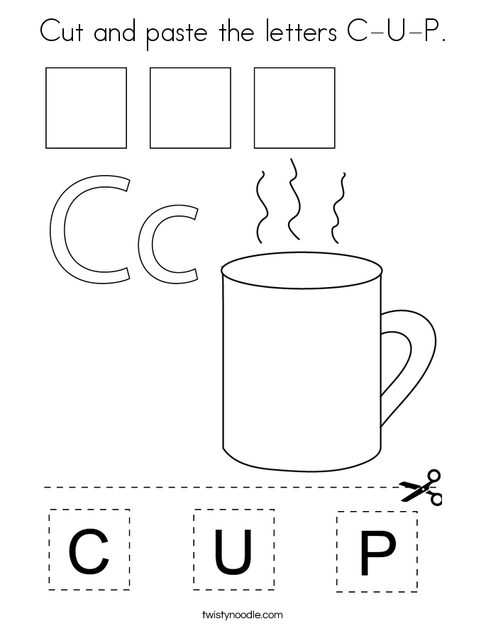 Cut and paste the letters C-U-P. Coloring Page