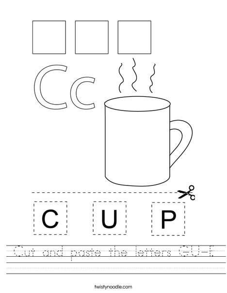 Cut and paste the letters C-U-P. Worksheet