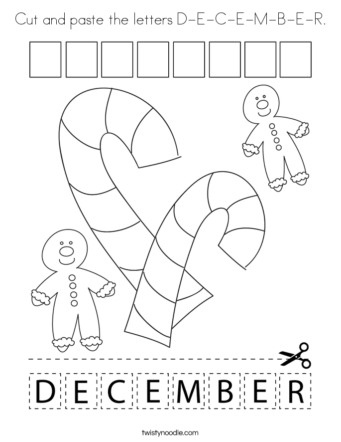 Cut and paste the letters D-E-C-E-M-B-E-R. Coloring Page
