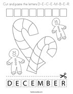 Cut and paste the letters D-E-C-E-M-B-E-R Coloring Page