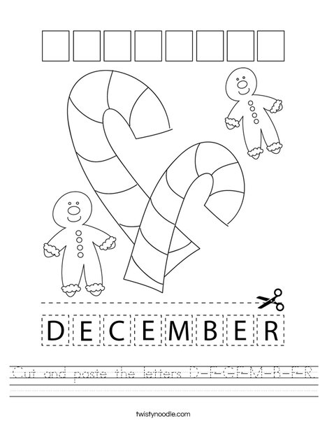 Cut and paste the letters D-E-C-E-M-B-E-R. Worksheet