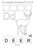 Cut and paste the letters D-E-E-R Coloring Page