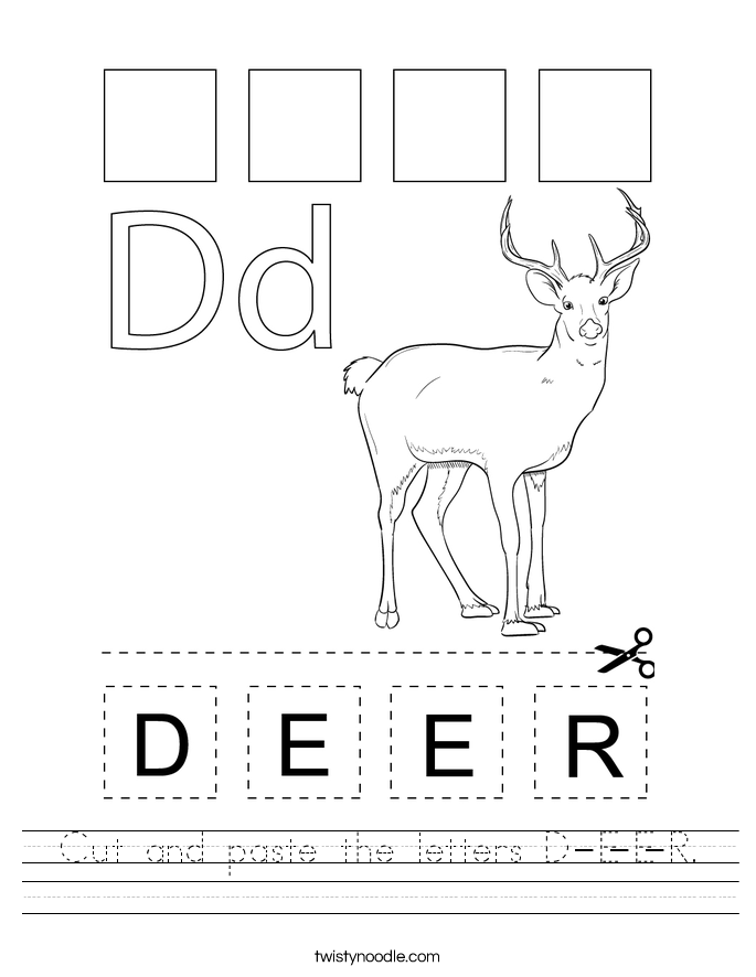 Cut and paste the letters D-E-E-R. Worksheet