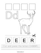 Cut and paste the letters D-E-E-R Handwriting Sheet