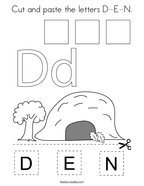 Cut and paste the letters D-E-N Coloring Page