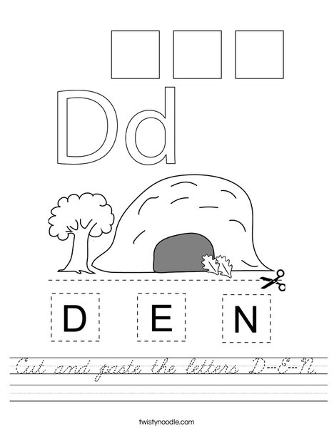 Cut and paste the letters D-E-N. Worksheet