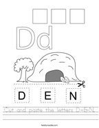 Cut and paste the letters D-E-N Handwriting Sheet