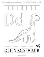 Cut and paste the letters D-I-N-O-S-A-U-R Coloring Page