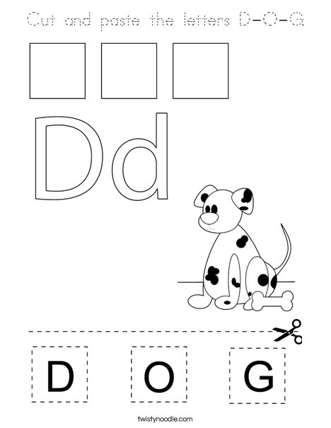 Cut and paste the letters D-O-G. Coloring Page