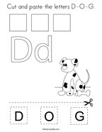 Cut and paste the letters D-O-G Coloring Page