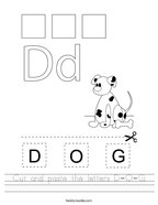 Cut and paste the letters D-O-G Handwriting Sheet