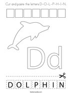 Cut and paste the letters D-O-L-P-H-I-N Coloring Page
