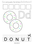 Cut and paste the letters D-O-N-U-T Coloring Page