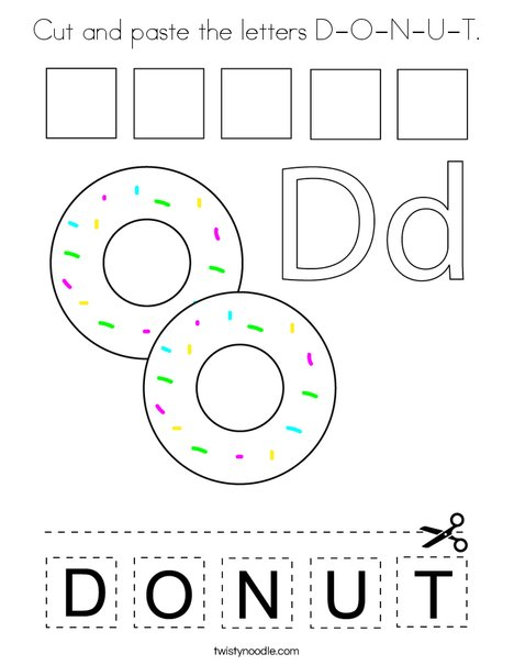 Cut and paste the letters D-O-N-U-T. Coloring Page