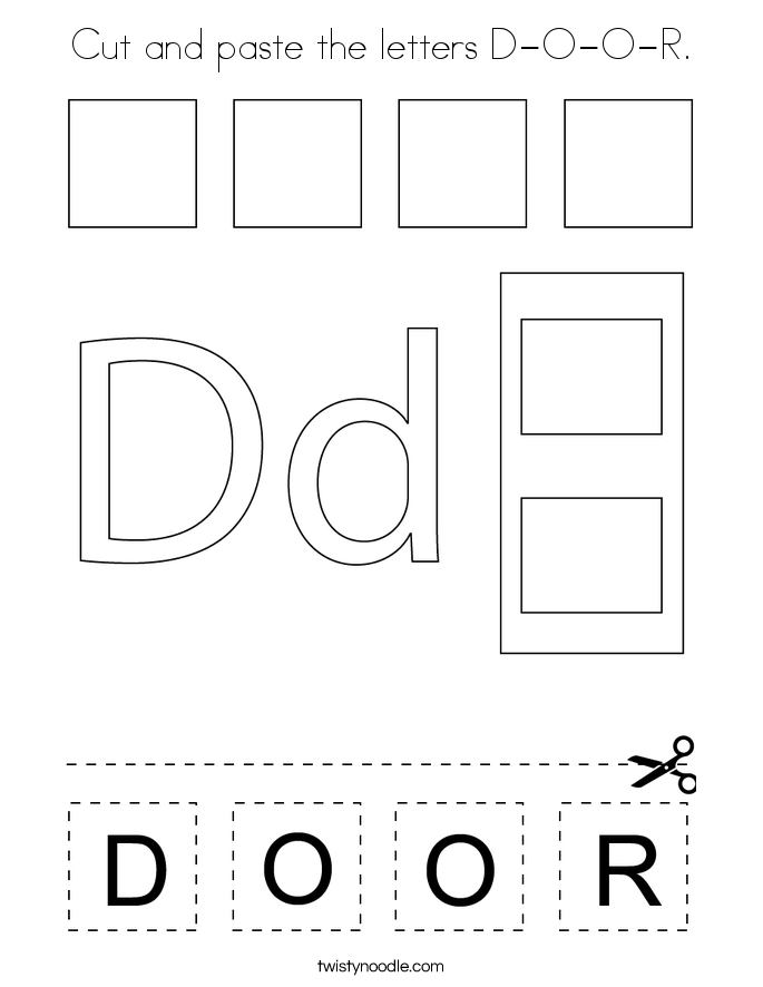 Cut and paste the letters D-O-O-R. Coloring Page
