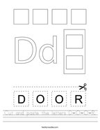 Cut and paste the letters D-O-O-R Handwriting Sheet