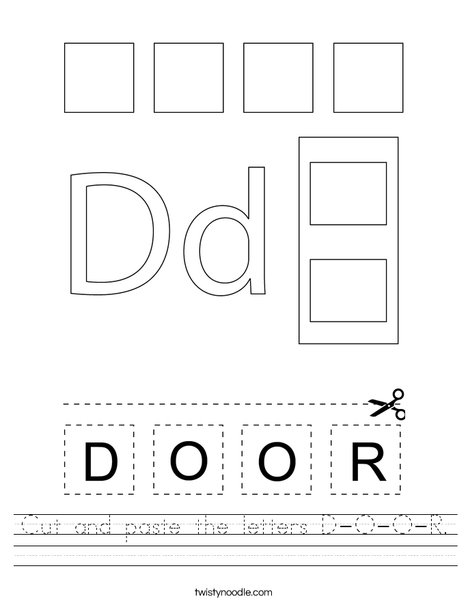 Cut and paste the letters D-O-O-R. Worksheet