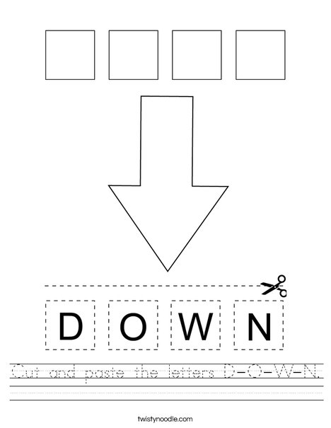 Cut and paste the letters D-O-W-N. Worksheet