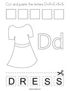 Cut and paste the letters D-R-E-S-S Coloring Page