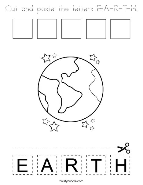 Cut and paste the letters E-A-R-T-H. Coloring Page