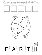 Cut and paste the letters E-A-R-T-H Coloring Page