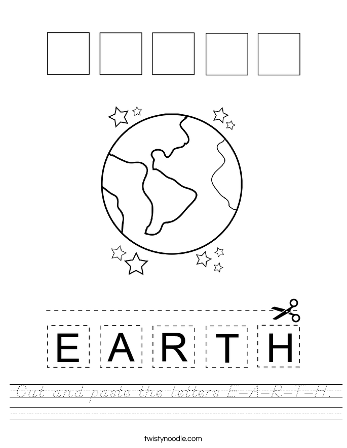 Cut and paste the letters E-A-R-T-H. Worksheet
