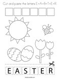 Cut and paste the letters E-A-S-T-E-R. Coloring Page