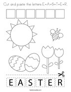 Cut and paste the letters E-A-S-T-E-R Coloring Page