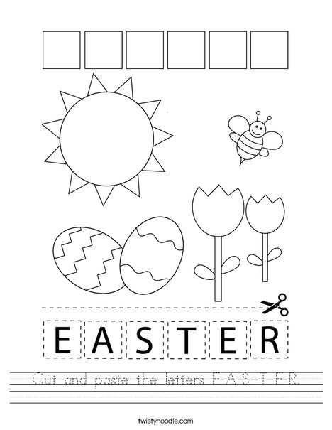 Cut and paste the letters E-A-S-T-E-R. Worksheet