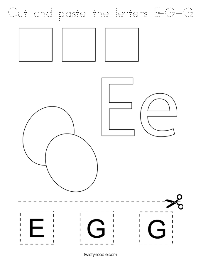 Cut and paste the letters E-G-G. Coloring Page