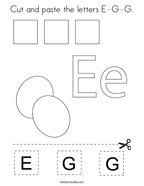 Cut and paste the letters E-G-G Coloring Page