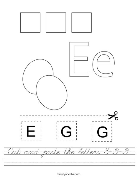 Cut and paste the letters E-G-G. Worksheet