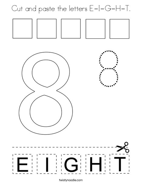 Cut and paste the letters E-I-G-H-T. Coloring Page