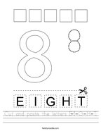 Cut and paste the letters E-I-G-H-T Handwriting Sheet