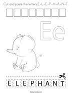 Cut and paste the letters E-L-E-P-H-A-N-T Coloring Page