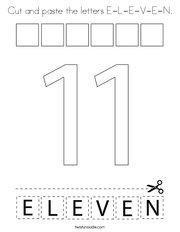 Cut and paste the letters E-L-E-V-E-N Coloring Page