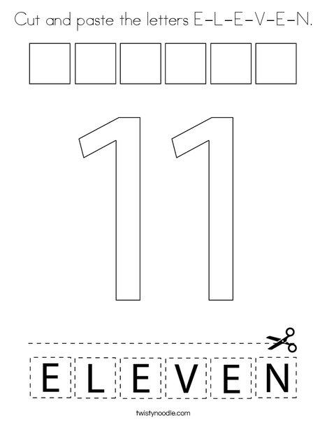Cut and paste the letters E-L-E-V-E-N. Coloring Page